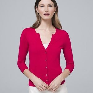 WHBM 3/4 sleeve snap front cardigan